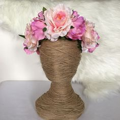 Garden Rose Artificial Flower Crown / Floral Wreath / Racewear / Girl / Hair Flowers Fake Flower Silk Fascinator Pink Bridal Head piece by FauxFloralCo on Etsy https://www.etsy.com/au/listing/482489655/garden-rose-artificial-flower-crown