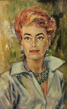 Joan Crawford, portrait, oil painting, 1960's.