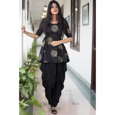 black dhoti pants with peplum tops - Indian Dresses - Wear Combin Frock Fashion, Indian Fashion Dresses, Indian Gowns Dresses, Dress Indian Style, Indian Designer Outfits, Pakistani Dresses, Indian Outfits, Diwali Dresses, Indian Designers