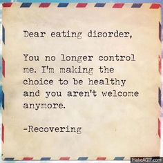 """recoveringforreal:  scales-are-for-fish:  ☺  It should have just been """"dear mental illness"""", because there are so many big (as in common) ones that they left out… bipolar, OCD, schizophrenia, addiction… this would work for all of them."""