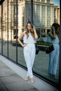 I was lucky to find this striped jumpsuit because aside from having two things that I enjoy wearing, it's a very unique and different piece. The cropped fold-over panel and soft mesh lining called my attention right away. #reflection #thegirlfrompanama