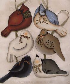 6 Sweet Cottage Folk Art BIRDS, a painting e-pattern by Donna Atkins, set of six. $4,50, via Etsy.