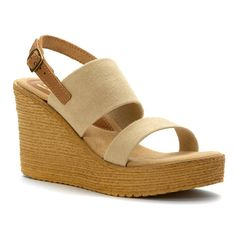 Sbicca Women's Camilla Wedge Sandal ** See this awesome image : Wedges Shoes Wedge Sandals, Wedge Shoes, Neutral Wedges, White Distressed Jeans, Camilla, Dillards, Espadrilles, Take That, Stylish