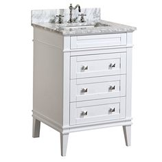 Eleanor 24-inch Bathroom Vanity (Carrara/White): Includes a White Cabinet, Soft Close Drawers, a Natural Italian Carrara Marble Countertop, and a Ceramic Sink Kitchen Bath Collection