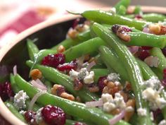 Green beans with walnuts, cranberry and blue cheese