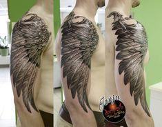 Wing tattoo sleeve Wing Tattoo Arm, Forearm Cover Up Tattoos, Upper Arm Tattoos, Cover Tattoo, Wing Tattoos, Eagle Tattoos, Feather Tattoos, Black Tattoos, Wing Tattoo Designs