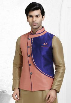 118a8760684 Buy Peach Silk Readymade Nehru Jacket 165009 online at lowest price from  our mens wear collection
