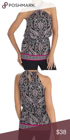 "White House Black Market Pink Tunic Top NWT $88 Swirls of pink brighten this black and white halter style tunic top with blouson fit for a comfortable shape. A twist at the neckline and cut-in shoulders create a desirable silhouette that flatters impeccibly. Blouson top with straight hem. Elastic waist. Twist at neckline with ring and cut-in shoulders. Keyhole at back with double loop and button closure. 95% polyester, 5% spandex. Hand wash, cold.  Approximately 31"" in length. White House…"