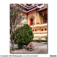 Courtyard, Wat Thatluang Beua Buddhist Temple Postcard