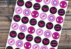 Superhero Cupcake Topper Superhero Birthday Party por EniPixels