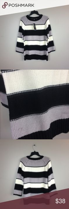 """Spense Knits NWT Striped Sweater Has a couple of snags as pictured. 28"""" length. 25"""" arm to shoulder. 19"""" pit to pit; No trades. Spense Knits Sweaters Crew & Scoop Necks"""