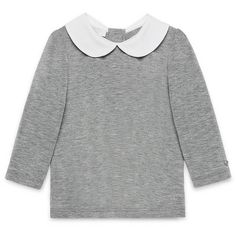 Gucci Collared Long-Sleeve Jersey Tee ($165) ❤ liked on Polyvore featuring tops, t-shirts, light gray, peter pan t shirt, jersey long sleeve t shirts, jersey t shirts, long sleeve jersey tee and long sleeve pullover