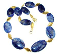 $128.55 Huge+Genuine+Brazilian+Blue+Sodalite+Gold+plated+over+Sterling+Silver+handmade+necklace at www.SilverRushStyle.com #necklace #handmade #jewelry #silver #sodalite