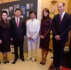 The Duke and Duchess of Cambridge, right, posed with Chinese president Xi Jinping and his ...