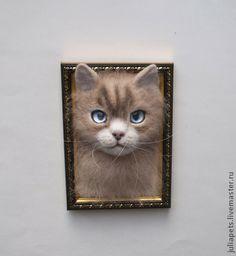 """""""Кошка Ваниль"""" Панно объемное из шерсти. Handmade. $36"""