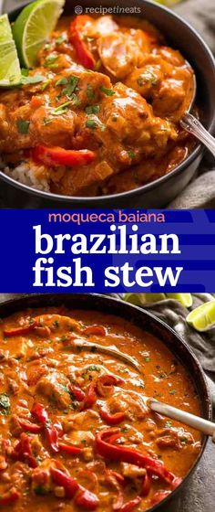 Fish Stews can be so boringbut not a BRAZILIAN Fish Stew! With a fragrant tomato coconut sauce with a fresh hit of lime this is such a different exotic way to serve up fish that is off the charts delicious yet simple to make. Greek Recipes, Fish Recipes, Seafood Recipes, Dinner Recipes, Cooking Recipes, Healthy Stew Recipes, Brazilian Fish Stew, Brazilian Dishes, Brazilian Recipes