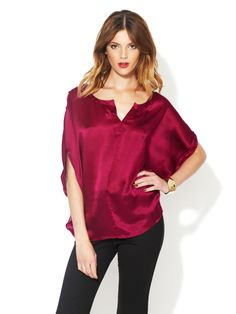 My perfect color when I want to be bold:  Selma Silk Satin Draped Top by Rachel Zoe - originally $250 now $109
