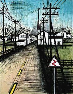 Bernard Buffet - La route - 1962 lithograph - 88 x 60 cm                                                                                                                                                                                 Plus