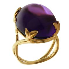 TIFFANY & CO. Paloma Picasso Amethyst Olive Leaf Yellow Gold Cocktail Ring. Circa 2000s