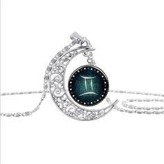 Gemini Zodiac Sign Crescent Moon Necklace
