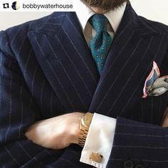 Repost from kind bespoke shop customer @bobbywaterhouse  ・・・  Wintery colour palette with a heavy flannel DB suit from @andersonandsheppard and a @rubinacci.it pocket square. The rectangular cufflinks I found in Milan last week add a nice 70s feel.