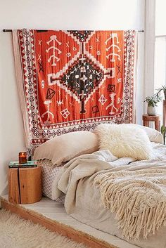 Hang a gorgeous tapestry above your bed. | 17 Ways To Make Your Home Look Like A Hippie Hideaway #meditationroomdecor