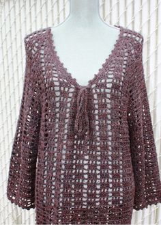 Plus Size Vneck Crochet Tunic Made to Order by DearAlina on Etsy, $249.00