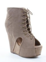 Tilda-07 Faux Suede Perforated Peep-Toe Wedge Bootie Taupe