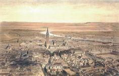 Vista aérea de Sevilla, litografiada por Alfred Guesdon a partir de una fotografía realizada por Clifford desde un globo aerostático, a mediados del siglo XIX.