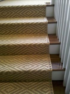 Nail Heads on Stair Runner. Pretty pattern too.