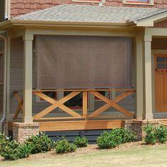 Keystone Fabrics Cordless Outdoor Sun Shade, x Bryce, Size: wide x drop, Multi-color Front Porch Railings, Patio Railing, Porch Railing Designs, Back Porch Designs, Screened Porch Designs, Porch Doors, Front Porch Design, Deck Stairs, Railing Ideas