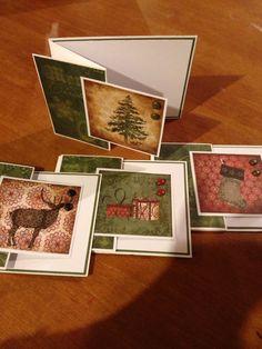 4 multi folded Christmas Cards Handmade by InspirationsByEmi, $9.00