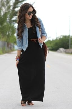 Long black dress with faded jean jacket.