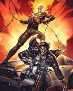 Marvel team-up: Ghost Rider and Wolverine pencils and inks by Geebo Vigonte colors by Tots Valeza,,,,,,!!!!