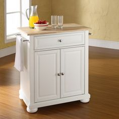 Crosley Newport Kitchen Island With Natural Wood Top In White - Crosley kitchen island cart natural wood top