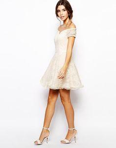 Chi Chi London | Chi Chi London Lace Prom Dress with Bardot Neck at ASOS