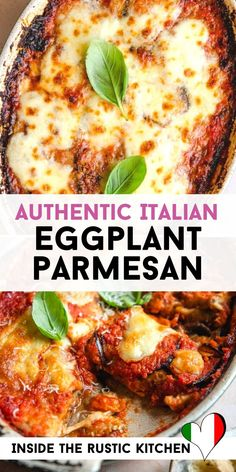 Eggplant Parmesan - Authentic Italian Recipe - Eggplant Parmesan (Parmigiana di Melanzane) is the ultimate comfort food recipe. Fried eggplant baked in a dish with tomato sauce, basil, parmesan and mozzarella cheese. Vegetable Recipes, Vegetarian Recipes, Healthy Recipes, Cooking Recipes, Best Food Recipes, Comfort Food Recipes, Olive Garden Recipes, Comfort Foods, Crockpot Recipes