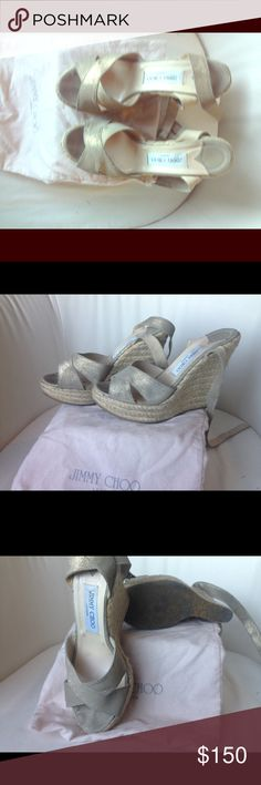 Jimmy choo espadrille wedges Versatile wedges, gold color, wrap around the ankle. Bought at Nordstroms $595 Jimmy Choo Shoes Wedges