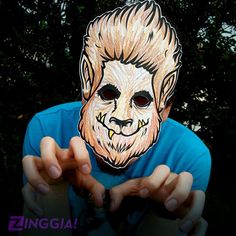 Wanna make your own Halloween mask? Check out this Wolfman werewolf paper mask for kids to print, color, cut, wear, & SCARE! INSTANT DOWNLOAD PDF. Cryptozoology DIY halloween costume. ZINGGIA!