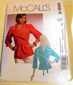 Short Trench Coat Jacket Double Breasted Wide lapel Princess Seam sewing pattern McCalls 5816 Size 6 8 10 12 Bust 30.5 31.5 32.5 34""