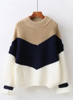 Color Block Loose Pullover Long Sleeve Sweater novashe.com