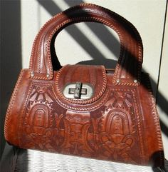 VINTAGE 60'S HAND TOOLED MEXICAN SATCHEL AZTEC LEATHER ROCKABILLY VLV PURSE BAG