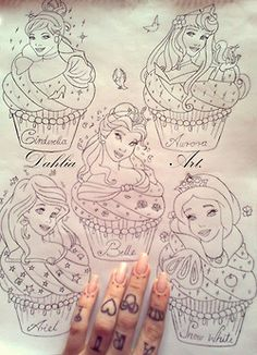 (Minnie mouse on her middle finger) cute inked tattoo heart pearls ariel beauty and the beast Key Aurora girly cinderella Sleeping Beauty Belle snow white Disney Princess minni...