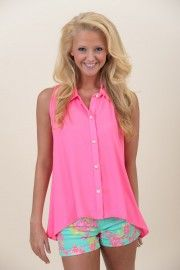 Blinded By The Highlight Tank-Hot Pink from The Red Dress Boutique