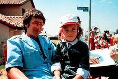 Steven Spielberg and Drew Barrymore on set of ET.