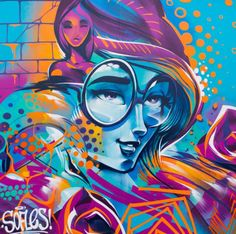 Street art by SOFLES. SOFLES is a famous street artist from Australia that the students will learn about in Lesson 1.