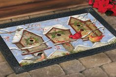 Wintery Birdhouse MatMates Doormat - perfect for your front porch