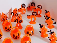 Vintage Halloween Lot of Cake Cupcake Decorations Orange & Black Pumpkins Scarecrow w Pumpkin Head Scary Kitty Cats Witches on Broomsticks by OffbeatAvenue on Etsy