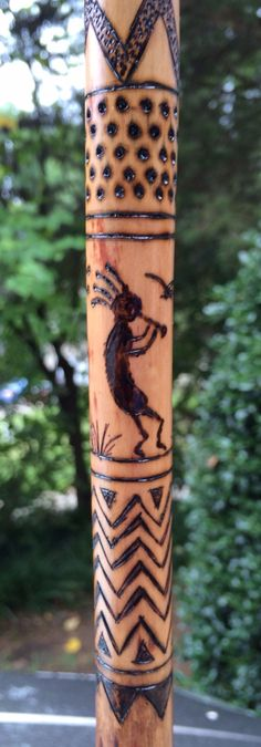 Walking stick - Hand carved cane with pyrography. My work.