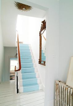 White white with blue stairs